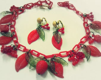 Cherries'n'Berries ~ Vintage 1950's inspired handmade Fruit Salad jewelry set ~ Summer necklace clip on earrings, lipstick red green leaves