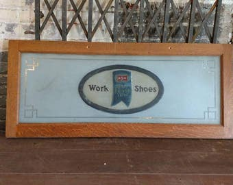 Blue Ribbon Shoes Etched Frosted Glass Window Quarter Sawn Oak Advertising