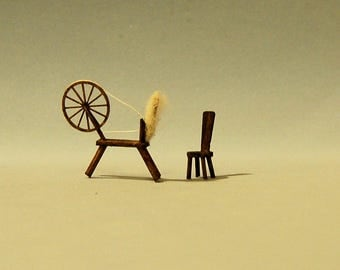 1/4 inch scale miniature-Spinning wheel and chair