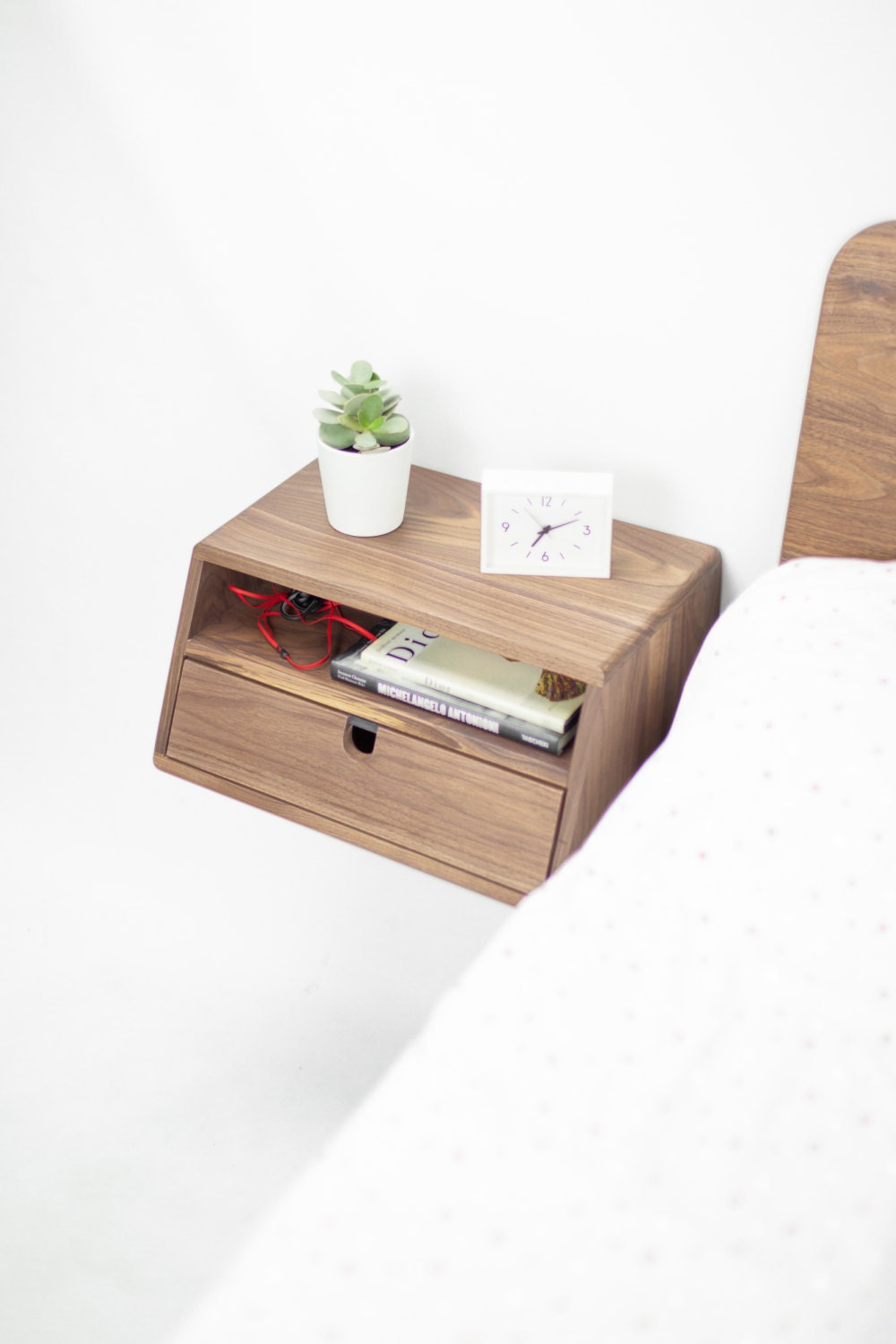 Walnut floating nightstand bedside table drawer in solid for Furniture 30cm deep