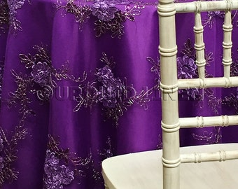 Ribbon Mesh Lace Tablecloth in Purple - Ideal for Weddings & Bridal Events