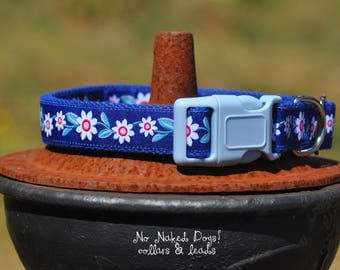 Daisy Chain ribbon dog collars Medium to X-Large