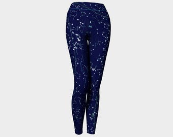 Constellations star map Handmade high quality astronomy space science yoga leggings artist original art printed chic geek wear