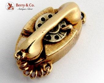 Vintage Dial Phone Charm 14 K Gold