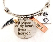 Personalized Memorial Pet Remembrance - A Piece of My Heart Lives In Heaven-  Bangle Bracelet or Necklace