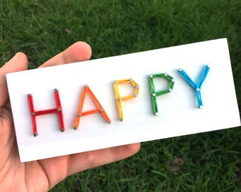 MADE TO ORDER String Art 'Happy' Single Line Strung Sign