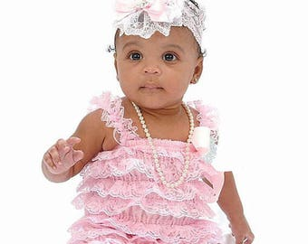 Pink Lace Romper & Headband Set~Baby Lace Romper~Baby Romper~Petti Lace Romper~Romper~Smash Cake Set~First Birthday Outfit~Lace Romper~