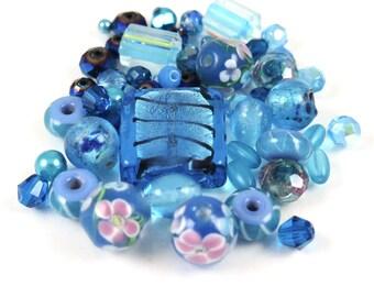 Medium Aqua Variety Bead Mix - 50+ beads - medium aqua blue destash beads