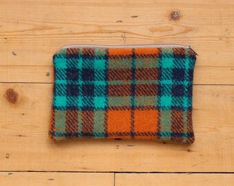 100% Wool Tweed Pouch - Teal & Tangerine Tartan Check - Zipped Accessory bag