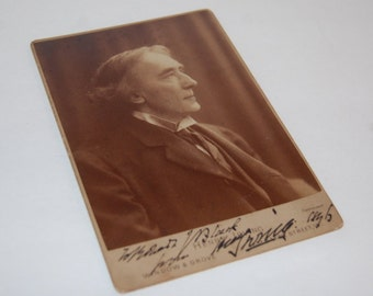 Dracula Inspiration Signed Sir Henry Irving Cabinet Card Photo Bram Stoker Best Friend Rare
