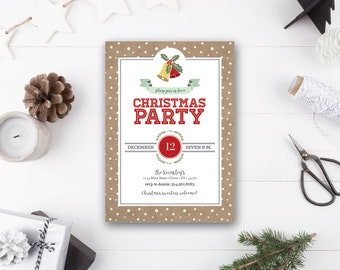 INSTANT DOWNLOAD Christmas party invitation / holiday invitation / rustic christmas invite / printable Christmas invitation / 5x7