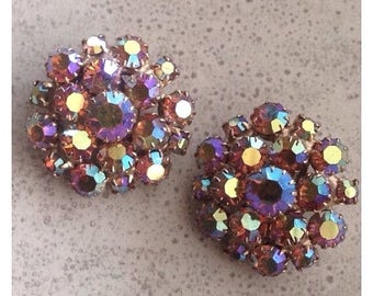 Clip Earrings -Vintage Pink Aurora Borealis Rhinestones Earrings Clip Back Special Occasion Pageant Ballroom Formal Bridal