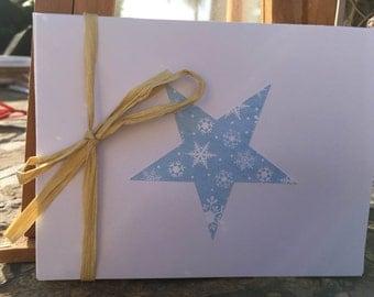 Set of 6 Handmade Snowflake Star Note Cards