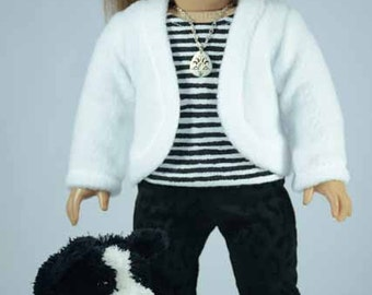 JACKET Cardigan Sweater in White Fleece LEGGINGS Pants Striped TEE Top Necklace Headband and Shoes Option for American Girl or 18 inch doll