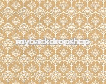6ft x 6ft Beige Damask Wallpaper Photo Prop - Tan Damask Patterned Photography Backdrop - Neutral Wedding Photography Prop - Item 3218