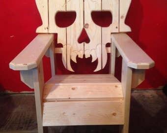 Skull Chair Adirondack Chair Yard Furniture Solid Wood