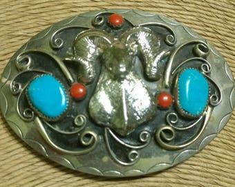 Vintage Native American Nickel Silver Turquoise Coral Ram's Head Nickel Belt Buckle