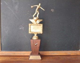 Vintage 1960 Bowling Trophy, Large Trophy, Man Cave
