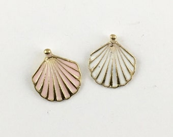 2 shell charms enamel and gold tone 16mm #CH 002-1