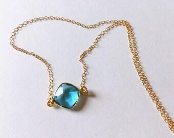 Blue Topaz Bezel Necklace