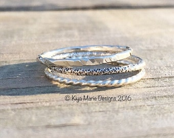 SALE Argentium silver stack rings, stackable ring bands, made to order, bridesmaid gifts, womens recycled, minimalist rings, simple, Eco-fri