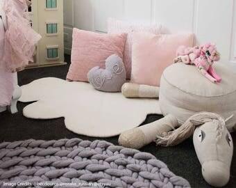 White CLOUD RUG LARGE, Felt Rug, Kids Rug, Felted Rug, Nursery Rug, Children decor, Wool Rug, Playmat, Kids Decor