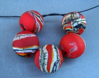 Lampwork organic style red hollow beads