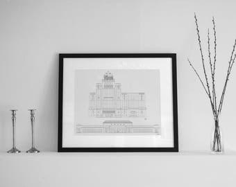 Union Station - Royal York - Toronto - Architectural Drawing - Toronto Art - Toronto Print