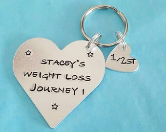 My weight loss journey hand stamped also comes with 1 stone marker motivational keyring