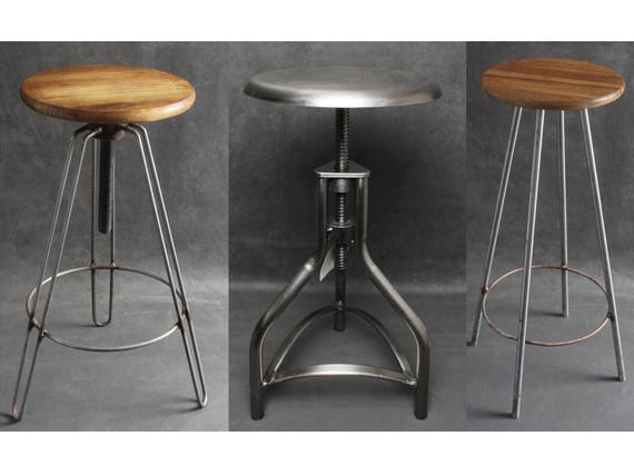 Industrial metal wooden bar stools seats swivel hairpin legs - Screw top bar stools ...