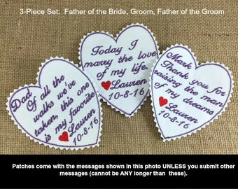 Bridegroom - Bride Father - Groom Father - Wedding Tie Patches, Iron On Tie Patches, Sew On Tie Patches, Personalized Patches, 3 PIECE SET
