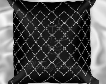 Chained Diamonds Goth Throw Pillow