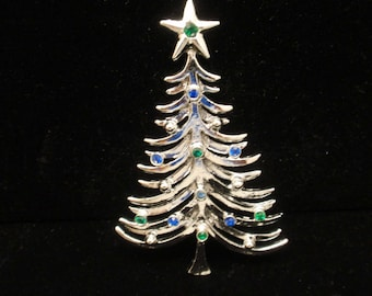 Christmas Tree Pin Vintage Blue Rhinestones Tancer II
