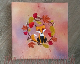 Autumn Fox watercolor painting with embroidery