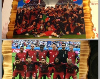 Handcrafted Pine Plaques UEFA Euro 2016 Champions (Portugal Team)  Price is for 2 plaques