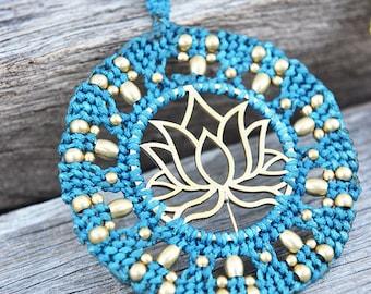 Macrame Lotus Flower Necklace, Blooming Lotus Pendant, Yoga Jewellery, Handmade Boho Necklace, Lotus Charm Necklace