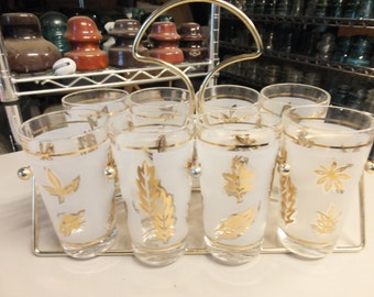 Frosted Libbey Glasses with Gold Leaf Design and Caddy/Complete Set of 8...Gold Leaf Frosted Glasses / Metal Caddy With Glasses