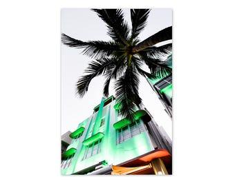 "Miami, South Beach, Miami Photography, Art Deco, Miami at Night, Ocean Drive Print, Wall Art, Green, Miami Skyline, Palm Tree ""Green Light"""