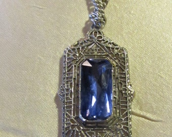 Filigree Art Deco Blue Stone Necklace