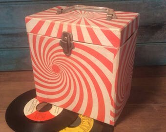 "45 Record (7"") Vinyl Storage Box Carrier Case with handle."
