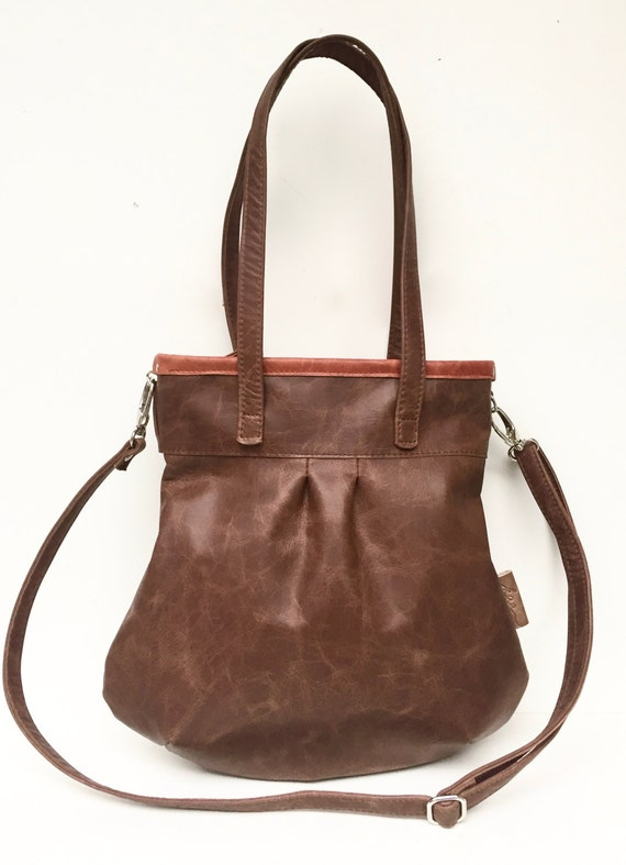 "Leather handbag , Leather Bag brown"" SHELLY BAG "" CACAO"