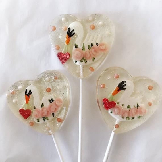 3 Swans of Love Vintage Valentine Wedding Favors Lollipops