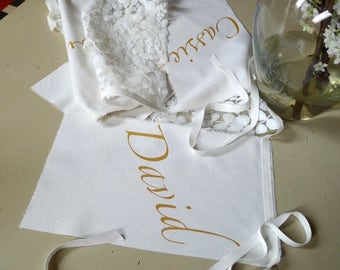 White Lace Wedding banner, bunting, 7 French couture lace and silk