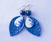 Blue Cowgirl Earrings with Vintage Tin Teardrops, Cobalt Blue Earrings, Leather Leaf Jewelry, Leather Earrings, Country Earrings