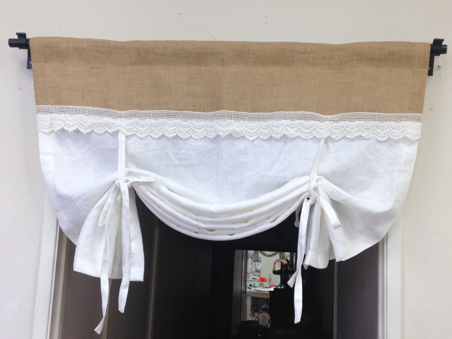 linen tie up curtains white pull up valance shabby by pillowpuff. Black Bedroom Furniture Sets. Home Design Ideas