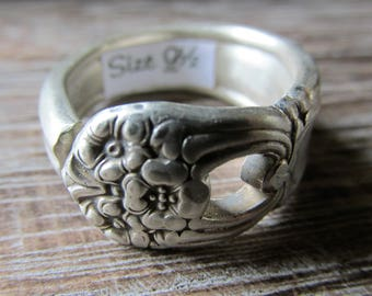 Silver Spoon Ring Size 9 1/2, ETERNALLY YOURS 1941, Silverware Jewelry, Gift for Her