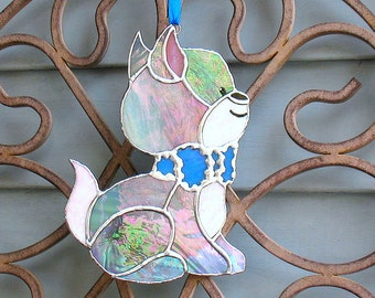 Stained glass kitty cat suncatcher window hanging ornament, gift for child, child's room decor, outdoor garden ornament, stained glass art.
