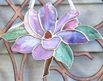 Stained glass mauve magnolia flower stained glass art, home or garden decor, window hanging suncatcher ornament, mother's day gift for her