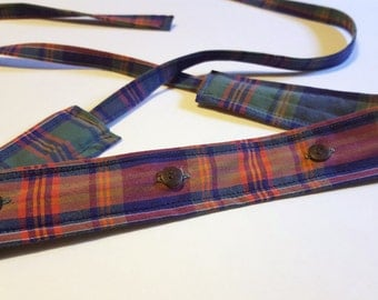 Plaid Headband / Cotton Headband with Buttons / Headband made from Mans Shirt / Upcycled Headband