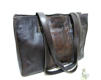 Vintage Italian Dark Chocolate Brown Leather Large Tote / Shoulder Bag